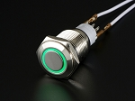 Rugged Metal On/Off Switch with Green LED Ring - 16mm Green On/Off